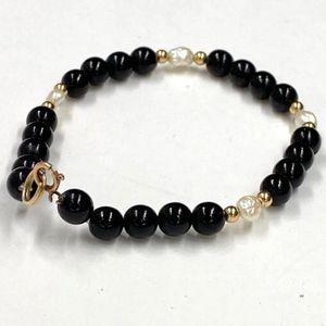 Jewelry - 14K GF FRESHWATER PEARL ONYX LINE TENNIS BRACELET